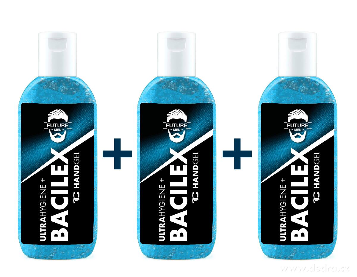 Sada 2+1 ZADARMO Čistiaci gél na ruky s vysokým obsahom alkoholu HANDGEL BACILEX ultraHYGIENE+ PLATINUM